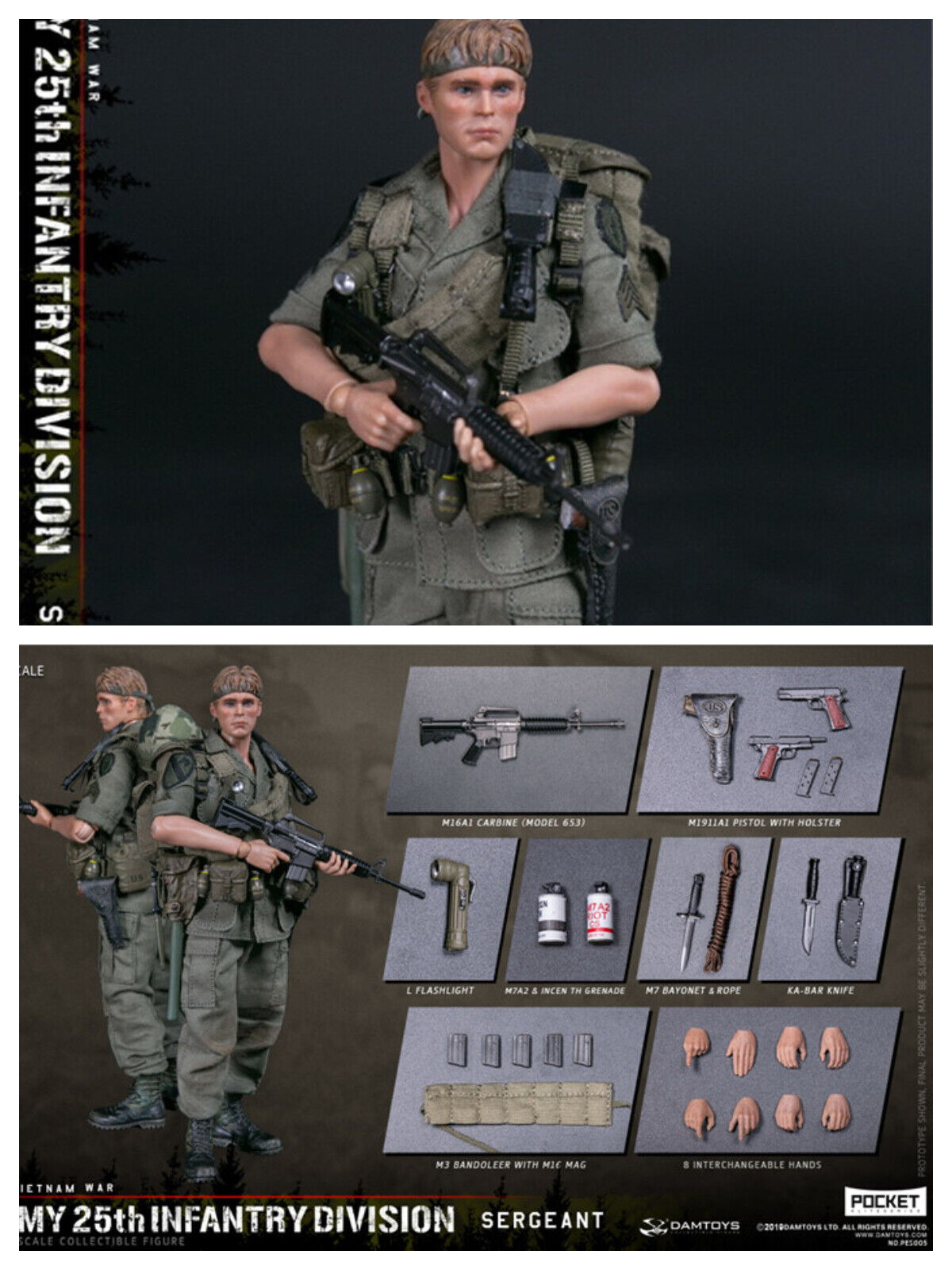 Instock 112 DAMgiocattoli Infantry Division Private SERGEANT PES005 azione cifra