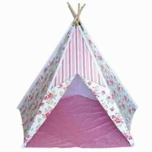 FLORAL-PINK-GIRL-KIDS-TEEPEE-INDOOR-OR-OUTDOOR-CHILDRENS-TENT-PLAY