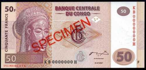 CONGO DEMOCRATIC P 97s SPECIMEN Prefix KB Uncirculated 50  FRANCS 2007