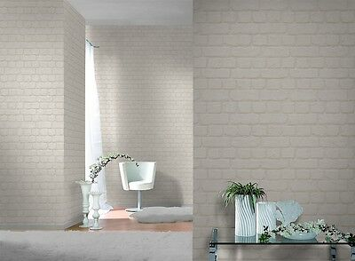 3D DESIGN QUALITY WASHED WHITE BRICK WALL EFFECT FEATURE WALLPAPER 226706 RASCH