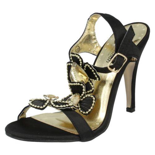 *SALE* LADIES SAVANNAH HEELED FLOWER SANDALS GOLD BLACK SATIN HIGH HEELS L3322