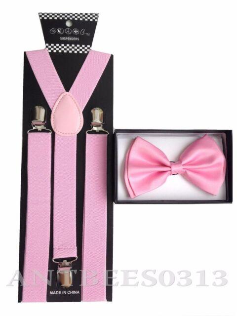 a36c49ffa2c7 Blush Light Pink SUSPENDERS And BOW TIE Matching Set Tuxedo Wedding Prom