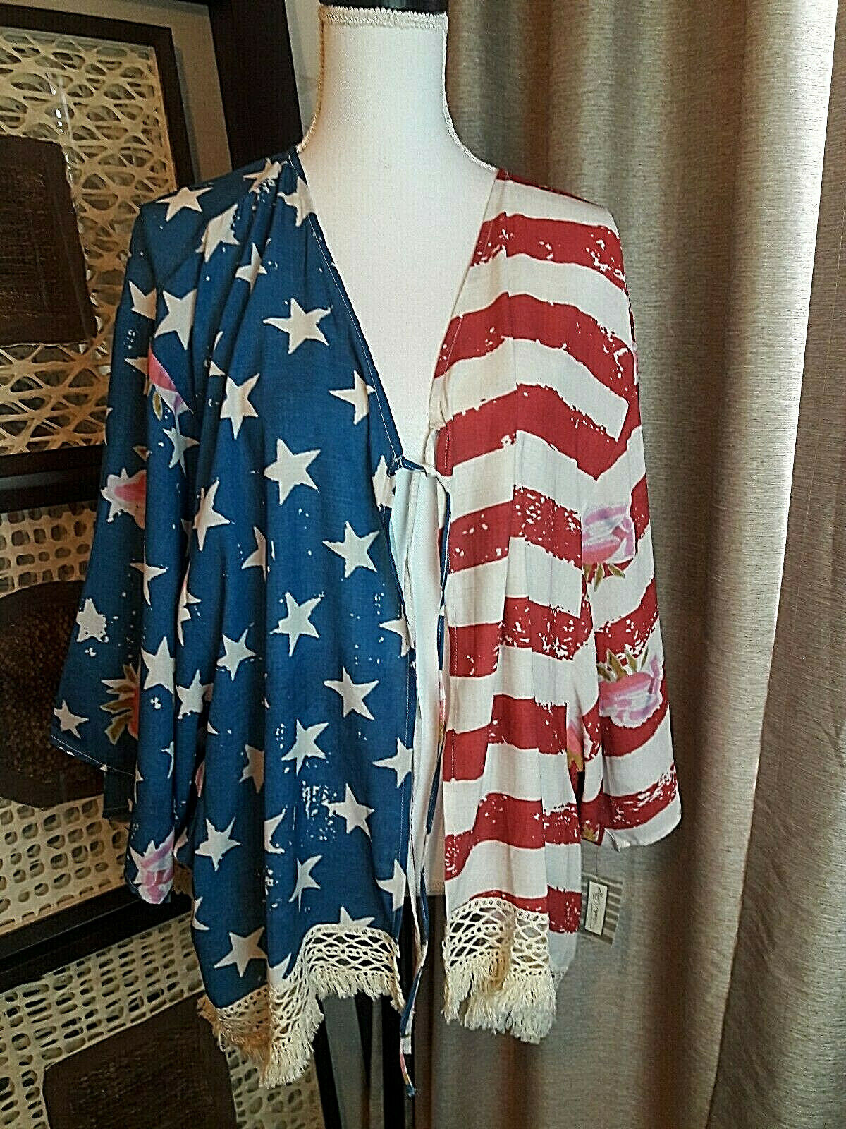 Tasha Polizzi Women's American Beauty Kimono Crochet Along The Hem NWT