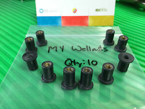 Wellnut M4 Metric Windscreen/Fairing Rubber Well Nuts for Motorcycles and more