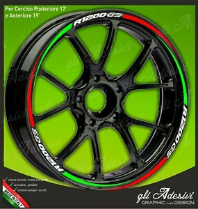 Adhesive-Strips-Wheel-Rim-Motorcycle-BMW-Tricolour-Green-White-and-Red-Mod