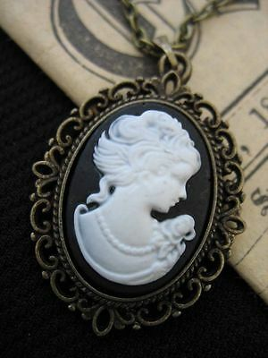 Antique Bronze Gothic Steampunk Victorian Lady Cameo BROOCH Pin Vintage Cabochon