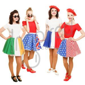 Ragazza-12-034-BANDIERA-Skater-Gonna-Pannello-OLIMPIADI-WORLD-FLAG-Day-Costume-Francia-Regno-Unito