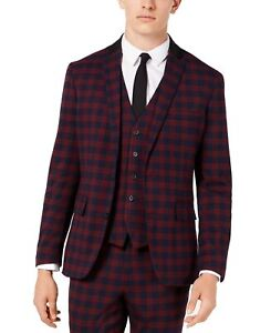 INC Mens Blazer Red Size Small S Slim Fit Plaid Print Tartan 2-Button $129 #128