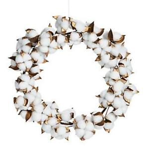 Wedding-Home-Country-Charm-Cotton-Plant-Decorative-Wreath-14-034-dia