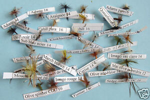 Selection-30-mouches-Seches-peche-truite-fly-mix-trout-fishing-lot-mosca-fliegen