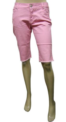 Da Donna Nuovo Look al Ginocchio Denim Jeans Shorts BABY ROSA TAGLIA 8 al 18 donna