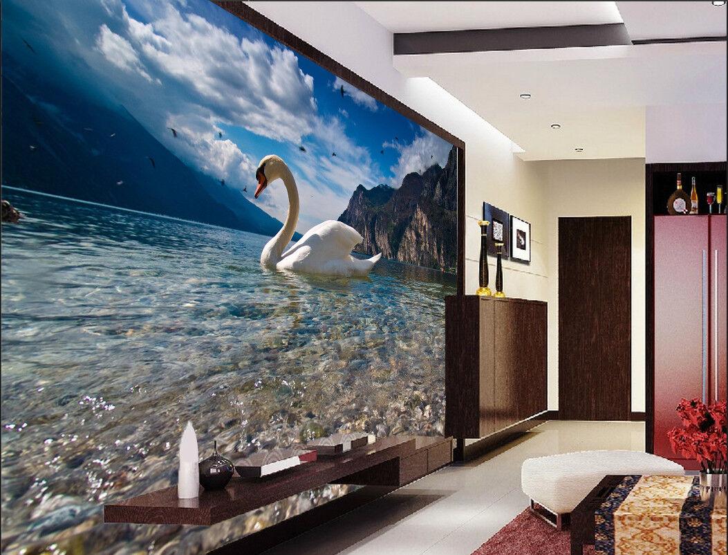3D Swan Stones Lake 88 Wall Paper Murals Wall Print Wall Wallpaper Mural AU Kyra