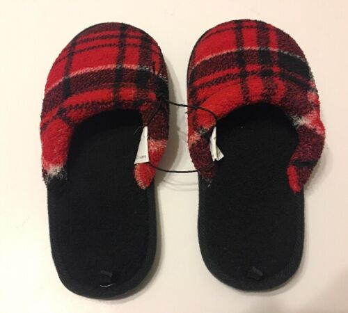 Boys Slippers Shoes Red Plaid Slip On Footwear