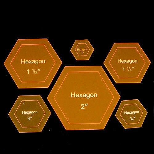 """Acrylic Template """"Hexagon"""" for English Paper Piecing Fabric Cutting 1/4"""" - 3"""""""