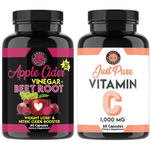 Angry Supplements Vitamin C + ACV Apple Beet Root Capsules, Immune Support 2-PK