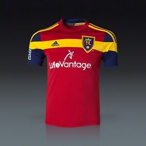 pretty nice 4e475 a4ee1 Details about Adidas RSL Real Salt Lake REPLICA CLIMACOOL TOP YOUTH M  JERSEY LIFEVANTAGE RED