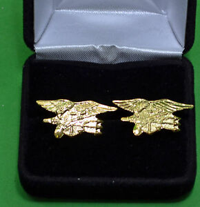 NAVY-SEAL-Cuff-Links-in-Presentation-Gift-Box-USN-Special-Warfare-Trident