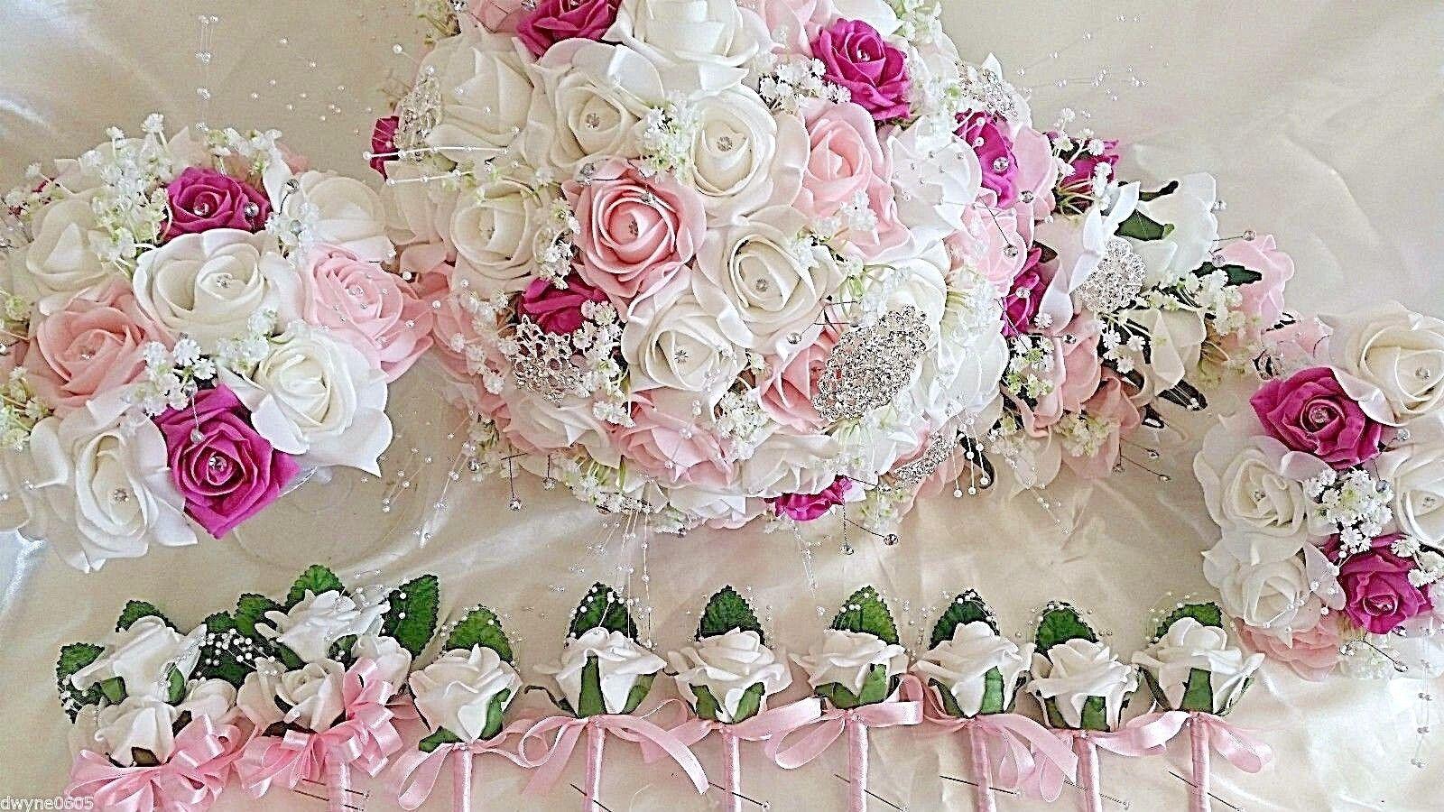 Mariage Bouquet de fleurs Larme demoiselles d'honneur boutonnières Lumière Rose Foncé & Blanc