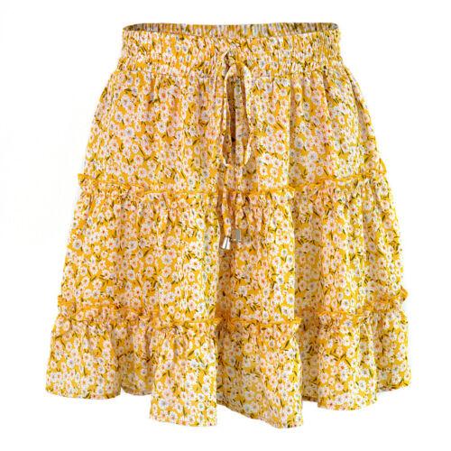 Damen Minirock Minikleid Rock Hohe Taille Sommerkleid Rüschen Stretch Sommerrock