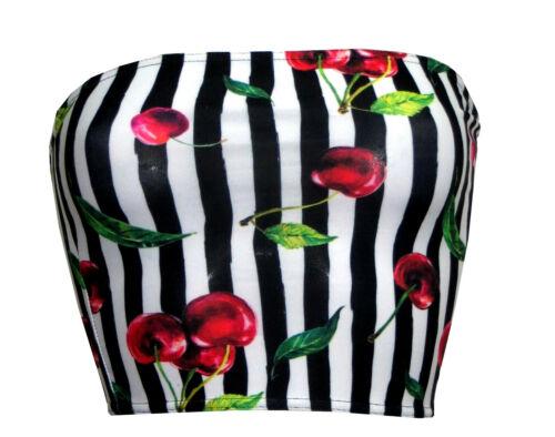 Cherry Leaves Tart Monochrome Striped Cherries Vintage Crop Bandeau Top Boobtube
