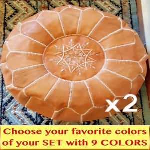 Pleasing Details About Authentic Moroccan Set Of 2 Nice Leather Pouf Ottoman Best Promo Of 2Pouf Footst Creativecarmelina Interior Chair Design Creativecarmelinacom