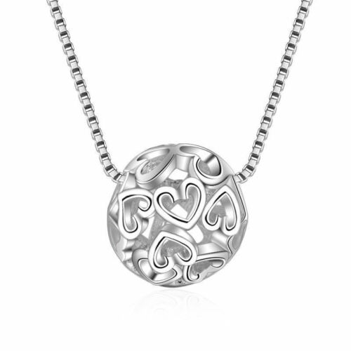 Women 925 Sterling Silver  Sphere Heart Ball Pendant Necklace Love Jewelry Gift
