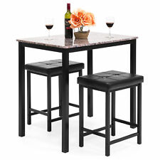 Kitchen Marble Table Dining Set W/ 2 Counter Height Stools (Brown)