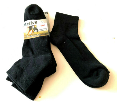 3 x Men/'s Quarter Trainer Work Socks Cushioned Padded Sole Trainer socks black