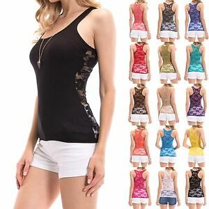 NEW-SEXY-Lace-Racerback-Ribbed-Solid-Tank-Top-Cami-Sleeveless-Shirts-S-XL