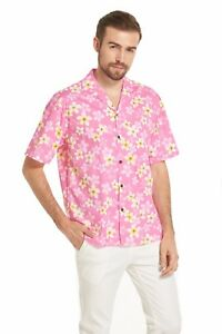 Made-in-Hawaii-Men-Aloha-Shirt-Luau-Cruise-Party-Line-Floral-Pink-Plumeria