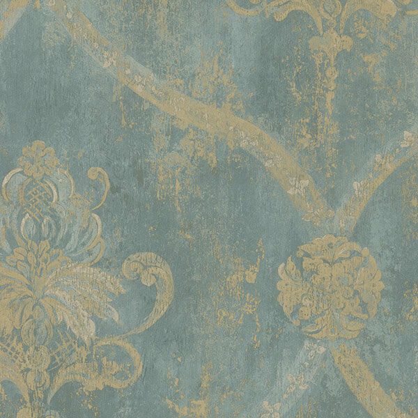 Traditional Aqua Blue and Gold Weathered Damask Modern Designer Wallpaper Diy