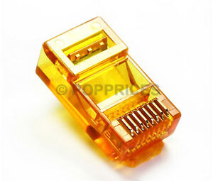 50Pcs-RJ45-CAT5e-CAT5-Colored-Modular-Plug-Network-Connector-Orange