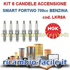 KIT 6 CANDELE ACCENSIONE SMART FORTWO 700 BENZINA NGK LKR8A COUPè CABRIO 450
