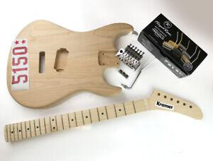 5150 UK Kramer style banana Neck Baretta guitar Body Floyd rose kit