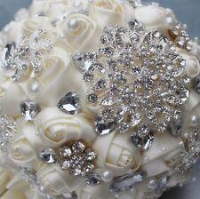 Ivory Crystal Wedding Rhinestone Brooch Bride Bouquet Hand Holding Flowers ✔️✔️