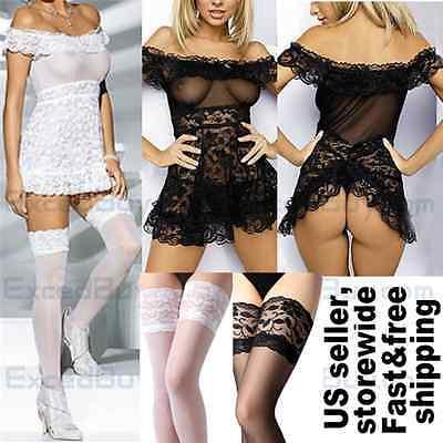 Women Lingerie Lace Nightwear Sleepwear Underwear BabyDoll Dress G-string Set