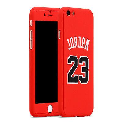 Apple iPhone 6 6S Full Case Basketball Michael Jordan Red Cover Screen Protector
