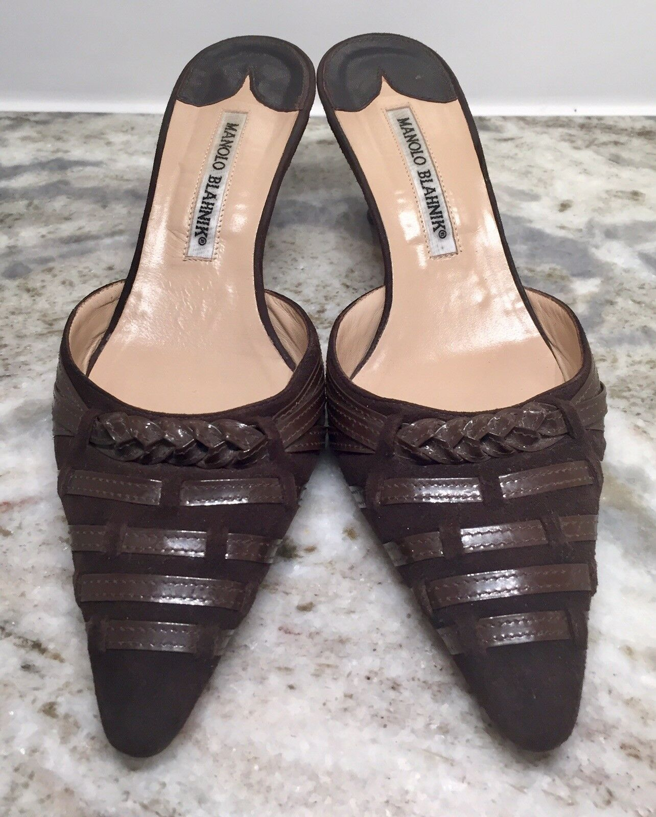 Manolo Blahnik Brown Suede, Woven and Braided Leather Mules, Size 36.5
