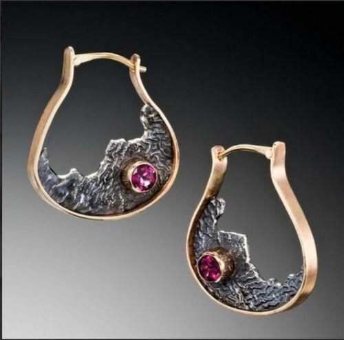 Vintage 925 Silver Ruby Sapphire Ear Hook Handmade Earrings Women Party Jewelry