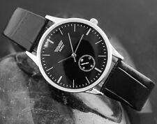 Reloj Deportivo hombres Esfera Negra/niño, Chrono correa de cuero, Movimiento de Cuarzo,