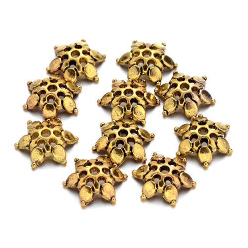 100pcs Tibetan Alloy Filigree Flower Beads Caps 6-Petal Antique Gold Craft 12mm
