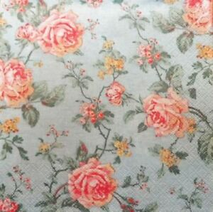 4single Paper Decoupage Napkins Rosesflowers Shabby Chic Blue