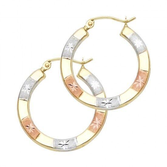 14k Tri Multi Tone gold Diamond Cut Stars Hollow Light Hoop Earrings