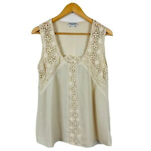 Queenspark-Womens-Cami-Tank-Top-Size-Medium-Cream-Floral-Lace-Good-Condition