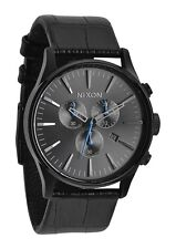 New Nixon Sentry Chronograph Black Dial Black Leather Strap Mens Watch A4051886
