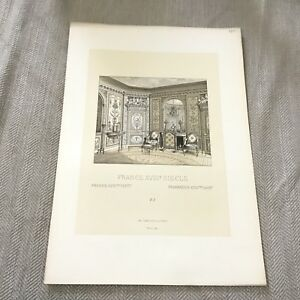 Old French Print Palace of Versailles Interior Original Antique Chromolithograph