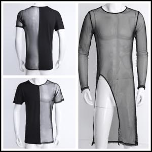 3b7050d4de9d Sexy Mens See Through Long Sleeve Mesh Long Tee Shirt Undershirt ...