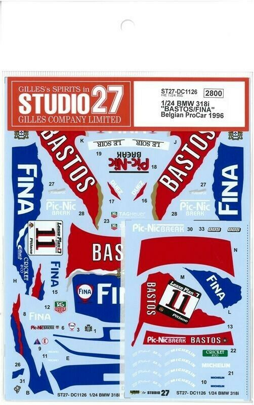 Studio27 1 24 BMW 318i Bastos   Fina Belga Procar 1996 Hasegawa Dc1126