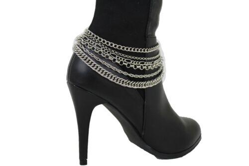 Hot Women Silver Metal Multi Strands Chain Boot Bracelet Shoe Charm Anklet Bling