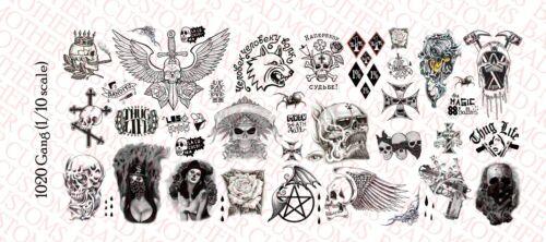 GANG-Waterslide decals 1//10 SCALA Tatuaggi personalizzati per Action Figure